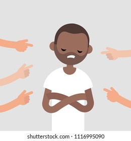 Victim of a bullying. Fingers pointing on the upset character. Mocking. Racism.  Сonviction of the crowd. Flat editable vector illustration, clip art