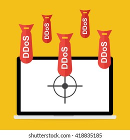 Victim computer laptop with target lock has Distributed Denial of Service ddos bomb attack concept design. Vector illustration cyber crime in computer security concept.