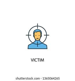 victim concept 2 colored line icon. Simple yellow and blue element illustration. victim concept outline symbol design