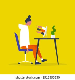 A victim of cyberbullying sitting at the computer. Misogyny. Sexism. Pointing fingers of haters. Internet aggression. Modern life issues. Millennials. Flat editable vector illustration, clip art