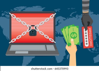 Victim hand exchange money to Password in bandit hand for unlock laptop. Illustration about Hackers demand ransom payment.
