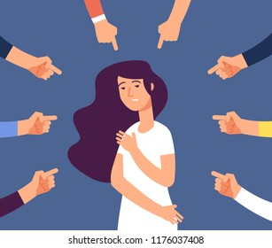 Victim women. Depressed girl in shame and hands with pointing finger. Guilty, ashamed female and blame in society vector concept. Woman frustrated, bullying employee illustration
