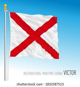 Victor flag, international maritime signal, letter V, vector illustration