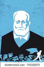 Victor Hugo, French writer, vector portrait