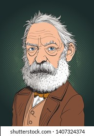 Victor Marie Hugo cartoon portrait in line art illustration. He was a French poet, novelist and dramatist of the Romantic movement.