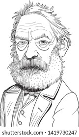 Victor Marie Hugo cartoon portrait in line art. He was a French poet, novelist and dramatist of the Romantic movement and is considered to be one of the greatest and best-known French writers.