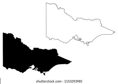 Victoria (Australian states and territories, Vic) map vector illustration, scribble sketch Victoria (Australia) map