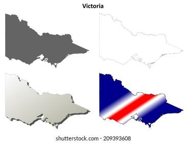 Victoria blank detailed outline map set - vector version