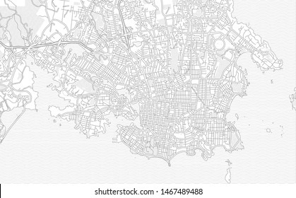 Victoria, British Columbia, Canada, bright outlined vector map with bigger and minor roads and steets created for infographic backgrounds.