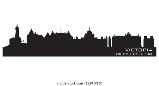 Victoria, Canada skyline. Detailed silhouette. Vector illustration