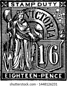 Victoria Eighteen Pence Stamp in 1889, vintage illustration.