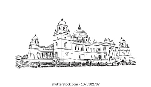 Victoria Memorial of Kolkata, City in West Bengal, India. Hand drawn sketch illustration in vector.