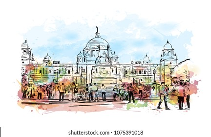 Victoria Memorial in Kolkata, City in West Bengal. Watercolour splash with hand drawn sketch illustration in vector.