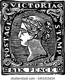 Victoria Six Pence Stamp from 1854 to 1858, vintage illustration.