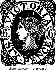 Victoria Six Pence Stamp from 1862 to 1863, vintage illustration.