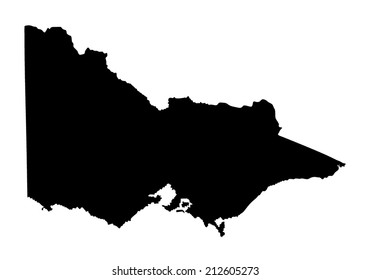 Victoria vector map ,Australia state vector map isolated on white background silhouette. High detailed illustration.