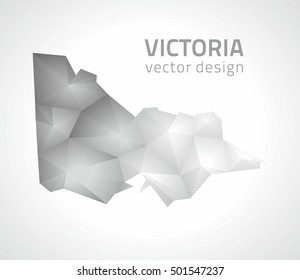 Victoria vector mosaic 3d grey and silver map