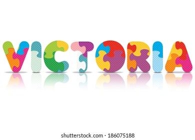VICTORIA written with alphabet puzzle - vector illustration