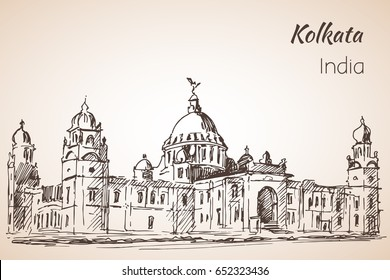 Victoria-hall - Sketch of indian city Kolkata.  Isolated on white background