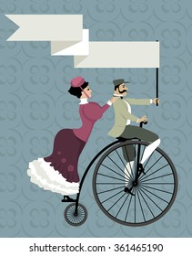 Victorian age couple riding a penny farthing bicycle, holding an empty banner over their heads, EPS 8 vector illustration, no transparencies