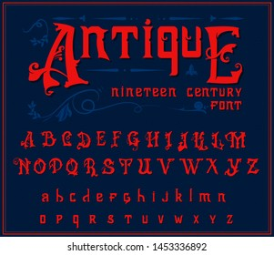 Victorian alphabet in ancient style. Antique old Font for Whiskey label. Vintage typeface in red colors, editable and layered. Hand drawn Vector modern letters.
