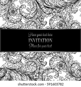 Victorian background with antique, luxury black and silver vintage frame, victorian banner, damask floral wallpaper ornaments, invitation card, baroque style booklet, fashion pattern, template.
