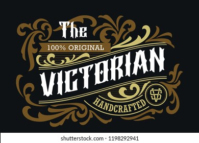 Victorian Badge Minimalist Luxury Label Design Vintage Badge Traditional Ornament Good For Fashion And Accessories
