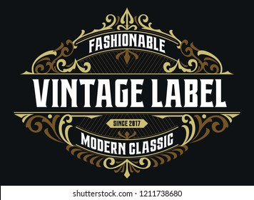 Victorian Badge Stylish Exclusive Label Design Vintage Fashionable Ornament Awesome For Brand Fashion, Craft, Beverage And Apparel