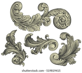 Victorian Baroque floral ornament decorative pattern calligraphic swirl heraldic filigree element. Design set. Hand drawn engraving. Vector vintage illustration. Isolated on white background. 8 EPS