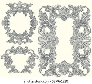 Victorian Baroque floral ornament decorative pattern calligraphic swirl heraldic filigree framework. Design set. Hand drawn engraving. Vector vintage illustration. Isolated on color background. 8 EPS