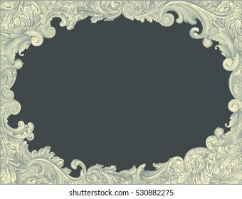 Victorian Baroque floral ornament decorative pattern calligraphic swirl heraldic filigree oval framework. Hand drawn engraving. Vector vintage illustration. Isolated on color background. 8 EPS