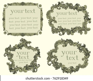Victorian Baroque floral ornament decorative pattern calligraphic swirl heraldic filigree frameworks. Design set. Hand drawn engraving. Vector vintage illustration. Isolated on light background. 8 EPS