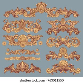 Victorian Baroque floral ornament decorative pattern calligraphic swirl heraldic filigree elements. Design set. Hand drawn engraving. Vector vintage illustration. Isolated on color background. 8 EPS