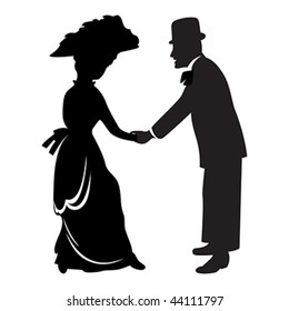 Victorian couple silhouette isolated over white