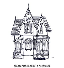 victorian cute little house outline ink drawn coloring book page stock vector illustration
