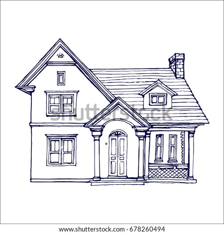 Victorian Cute Little House Outline Ink Stock Vector ...
