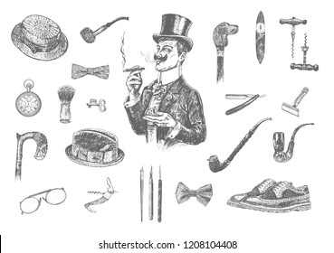 Victorian Era Collection, Gentleman's vintage accessories doodle collection. Hand drawn men illustrations set. Gentlemen in top hat holding whisky and cigar. Vintage vector engraving style