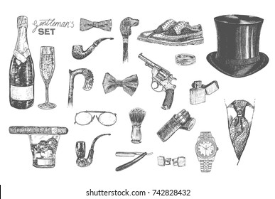 Victorian Era Collection, Gentleman's vintage accessories doodle set. Hand drawn men isolated vector illustration in ancient engraving style