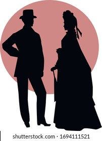 Victorian era couple in love talking