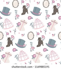 Victorian era fashion on white background. Seamless pattern vector