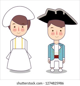 Victorian era France Europe traditional national clothes. Set of cartoon characters in traditional costume. Cute people. Vector flat illustrations.