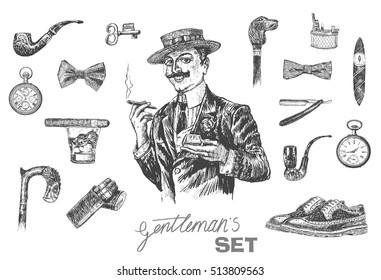 Victorian Era set, Gentleman's vintage accessories doodle collection. Elegant gentleman in hat holding glass of beverage and cigar. Hand drawn men illustrations