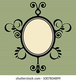 victorian floral design, baroque frame, oval vector decoration