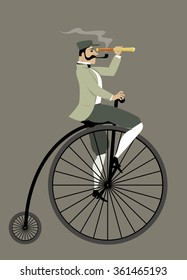 Victorian gentleman with a pipe and a telescope riding a penny-farthing bicycle, EPS 8 vector illustration