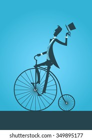 Victorian gentleman silhouette in a bicycle