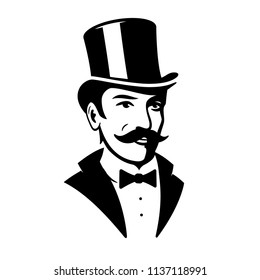 Victorian Gentleman Top Hat Logo Icon