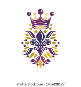 Victorian golden emblem composed using lily flower and monarch crown. Royal quality award vector design element, business label.