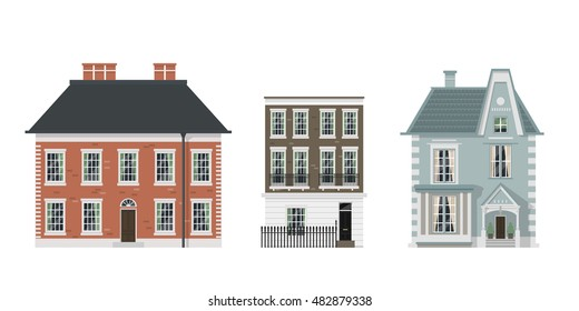 Victorian houses set