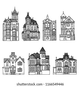 Victorian houses set. Black and white sketches.