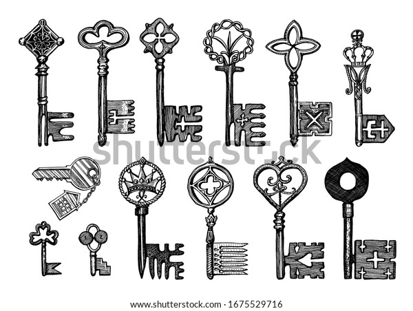 Victorian keys. Medieval Gothic locks set. The device for opening the door. Antique elements to blocking. System of security. Vintage vector sketch. Engraved hand drawn illustration.